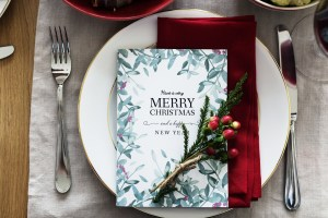 Merry Christmas card on plate