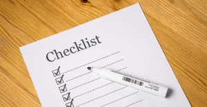 A checklist with check-boxes and empty lines.