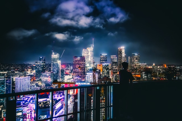 A view of LA at night.
