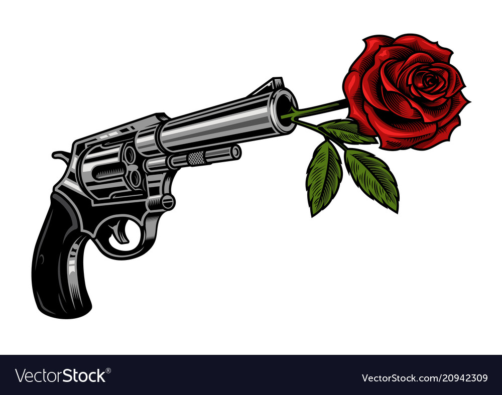 Gun with rose