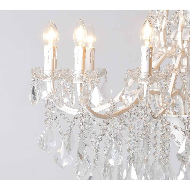 Chambery White Glass Chandelier Crystal Pertaining To French 3 Of 12