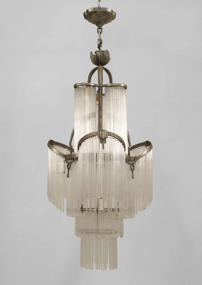French Art Deco Glass Fringe Chandelier Intended For