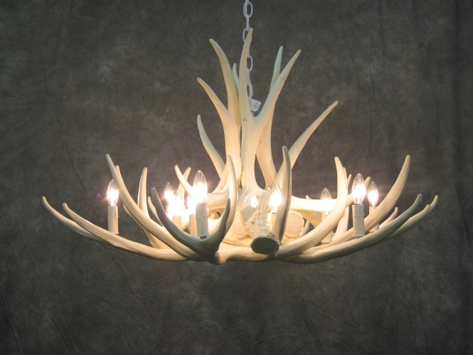 White Antler Chandelier Faux Deer D9 With Stag Horn 12 Of