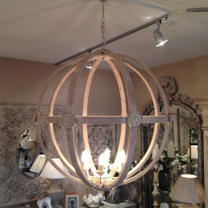 Extra Large Round Wooden Orb Chandelier Stunning Rustic Light Intended For Lighting