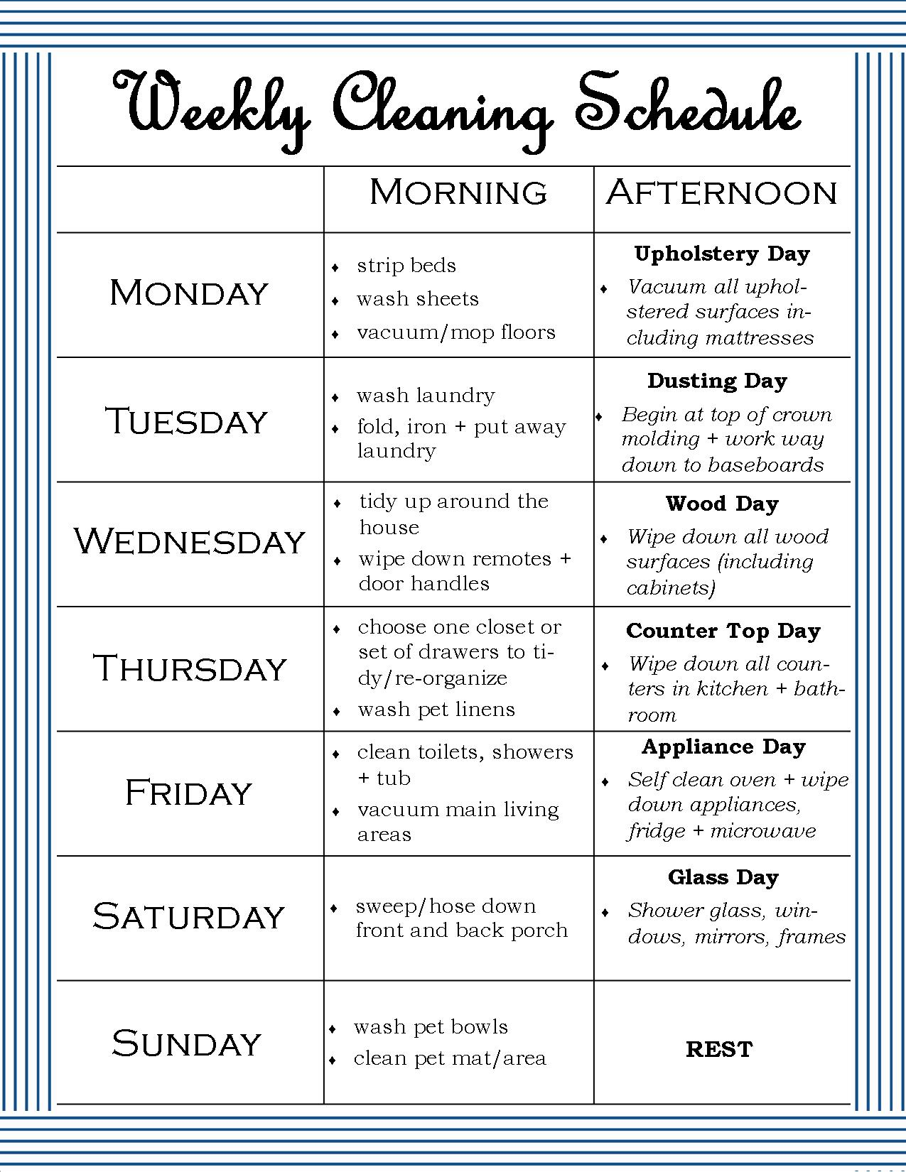 The Weekly Cleaning Schedule