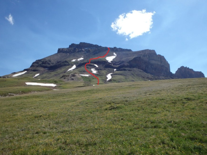 Annotated route up the West Face.