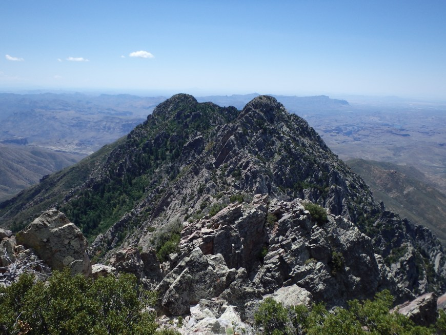 View south to Sister Peak and the crux of the full traverse.