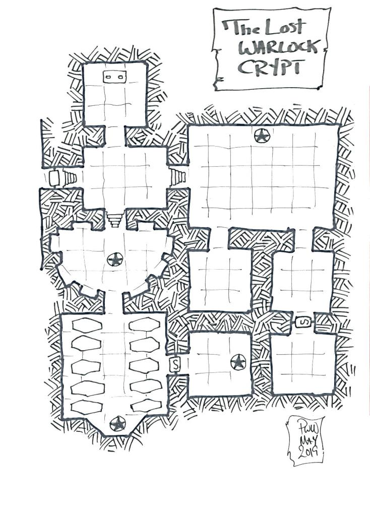 The Warlock's Crypt is a holy place for the witches' coven and said to be cursed. A free dungeon adventure for fantasy RPGs.