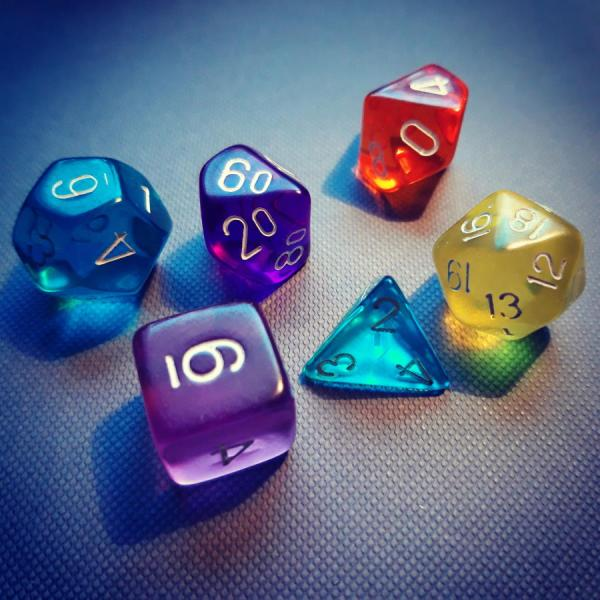 A set of polyhedral dice.