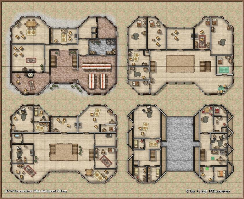 The City Mansion is a free dungeon map created with Campaign Cartographer for vtts like Roll20 and fantasy tabletop RPGs like Dungeons and Dragons.