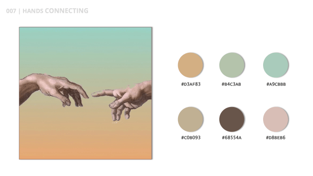 Hands Connect is the title of this color palette and inspired b Michelangelo's Hand of God.