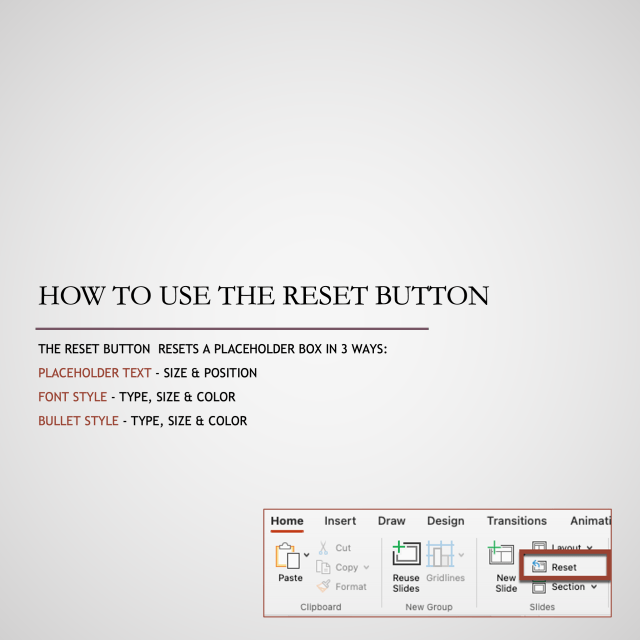 How to use the reset button to reset placeholders