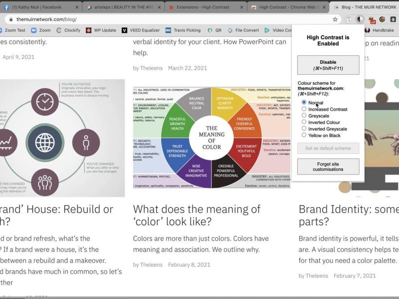 The Muir Network Blog page just before use of the High Contrast accessibility tool