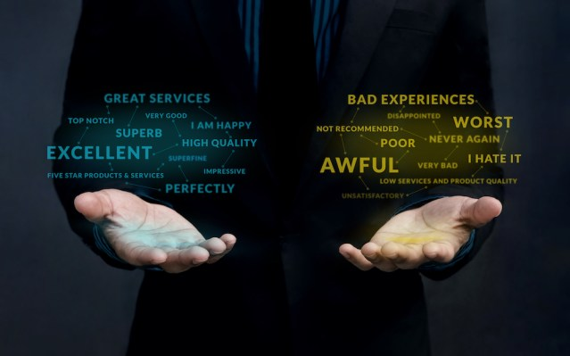Customer Experience Strategy Concept. Positive and Negative Online Review Floating over Businessman's Hand to Balance and Analysis
