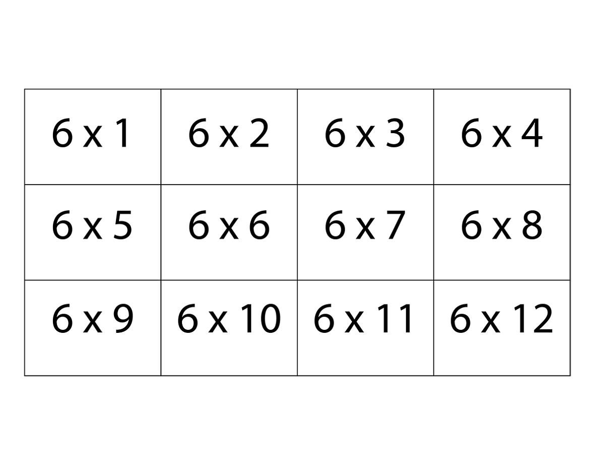 4 Printable Blank Multiplication Table Of 6 Charts