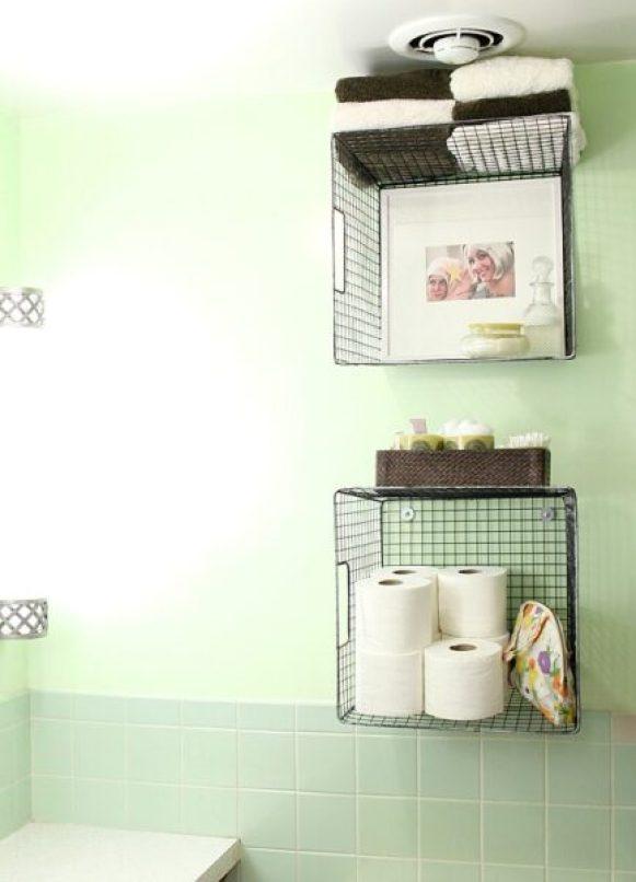 hanging wire baskets bathroom storage