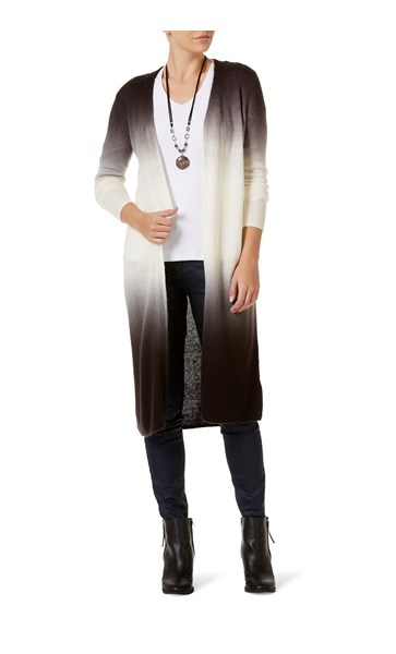 Rockmans Long Sleeve Ombre Midi Cardigan