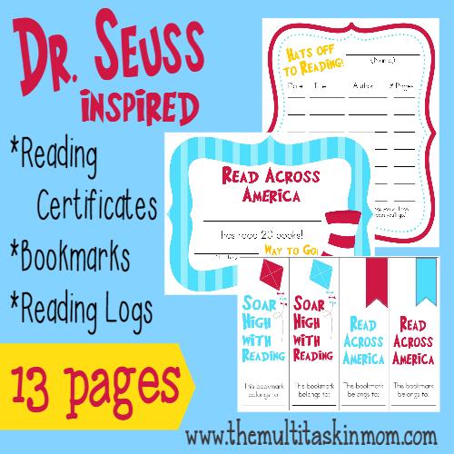 Free Dr Seuss Inspired Reading Supplies The Multi Taskin Mom
