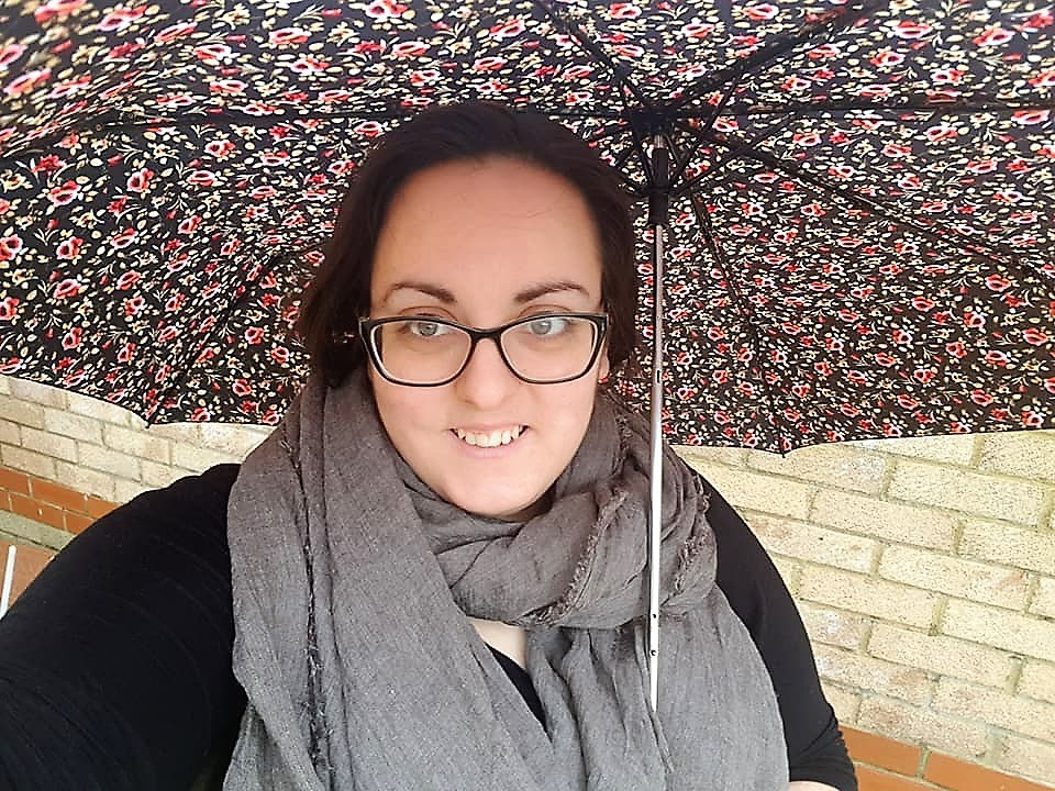 Wearing Scarf and using Rose umbrella from Hotter Shoes at Queensgate Shopping Centre
