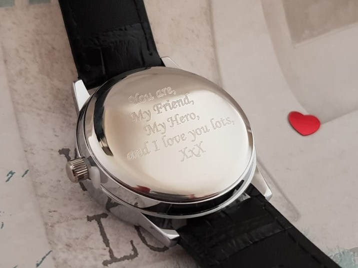 """Giftpup Personalised Watch inscribed with """"You are my frined, my hero and I love you lots xxx"""""""