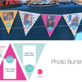 Create photo bunting for your little one's birthday. Template will download on click.