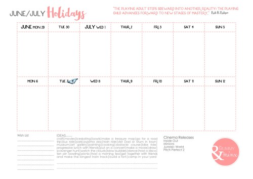 June/July Holidays Calendar