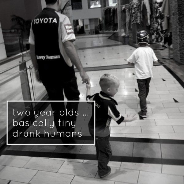 two year olds ...basically drunk