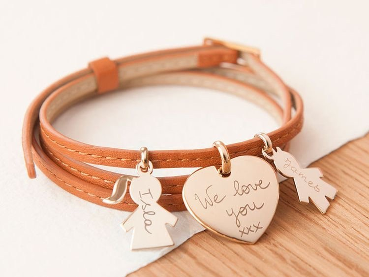 Brown leather wrap charm bracelet from Merci Maman