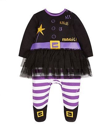 Witch outfit for Halloween with purple striped leggings