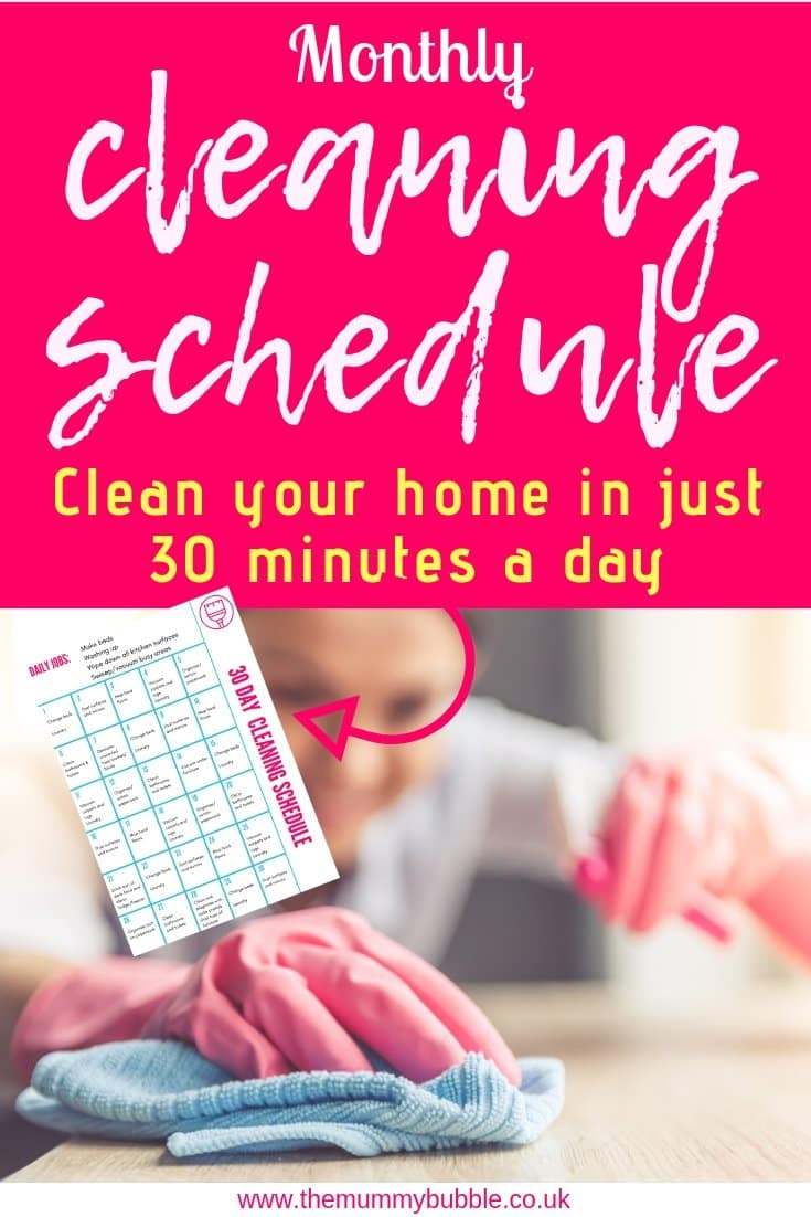 Monthly cleaning schedule - cleaning your home in just 30 minutes a day