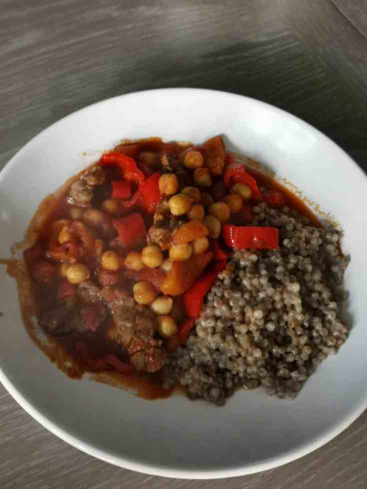 Moroccan lamb with chickpeas and peppers