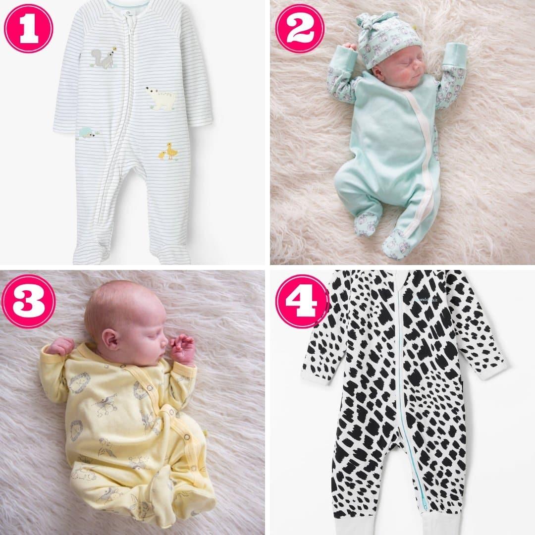 Gender neutral baby sleepsuits