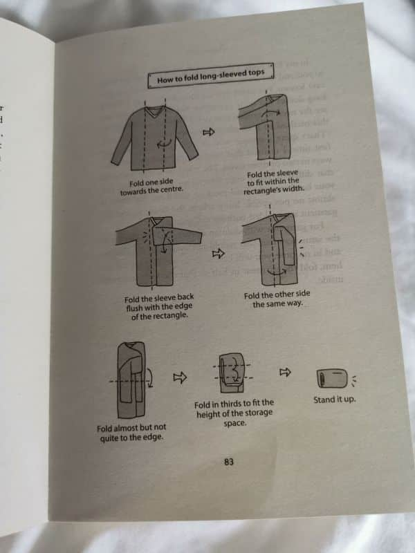 Folding long-sleeved tops using the KonMari method