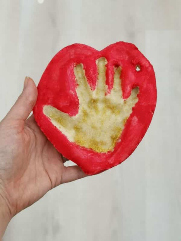 toddler handprint Christmas tree ornament made from salt dough