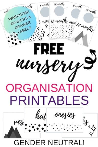 Free nursery organisation printable - wardrobe dividers and baby clothes drawer labels