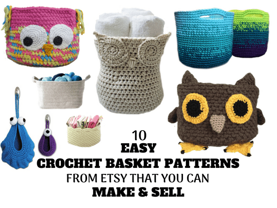10 Easy Crochet Basket Patterns from Etsy That You Can Make & Sell #craftstoselll #diycraftstosell #craftstomakeandsell #craftstomakeandesellideas #makeandsell #christmascraftsforgiftsforadults #diysoaps #diygifts #craftpresents #diyprojectstosell #coolpresents #easygiftstomake #easycraftstomakeandsell #handmadegifts #handmadecraftstosell #diygiftstosell