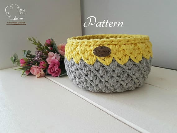 Pattern for crochet basket, crochet pattern, round basket, diy pattern, storage bin pattern, honey b basket pattern, sturdy basket #storage #organization #organisation #crafty #craft #makemoney #sellcrafts #diy #crochetcraft