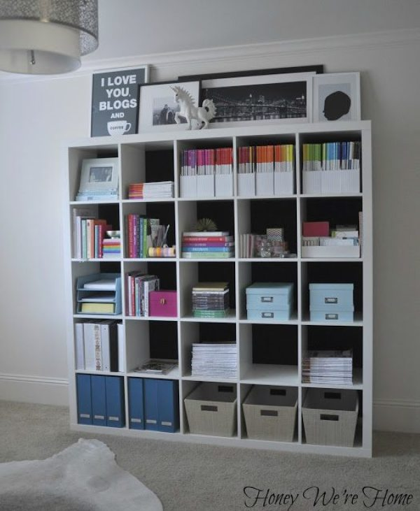 Fabric Lined Ikea Kallax Bookcase