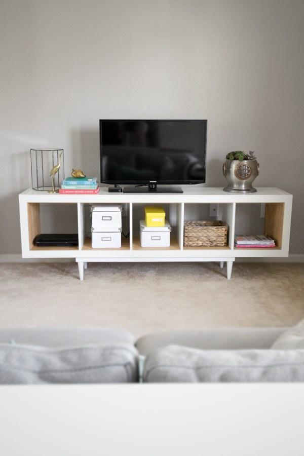 Mid century modern ikea tv stand & living room storage idea