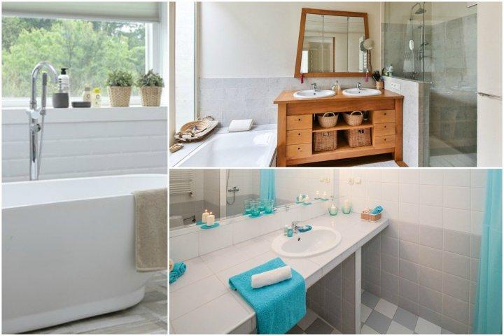 organized home bathroom collage