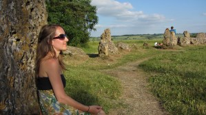 Me meditating at The Rollright Stones at Summer Solstice.