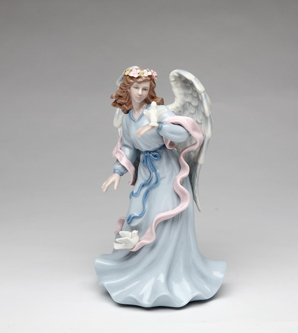 Musical Porcelain Angel Holding Dove