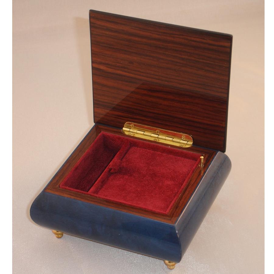Italian Jewelry Box Dark Blue 17Rose opened
