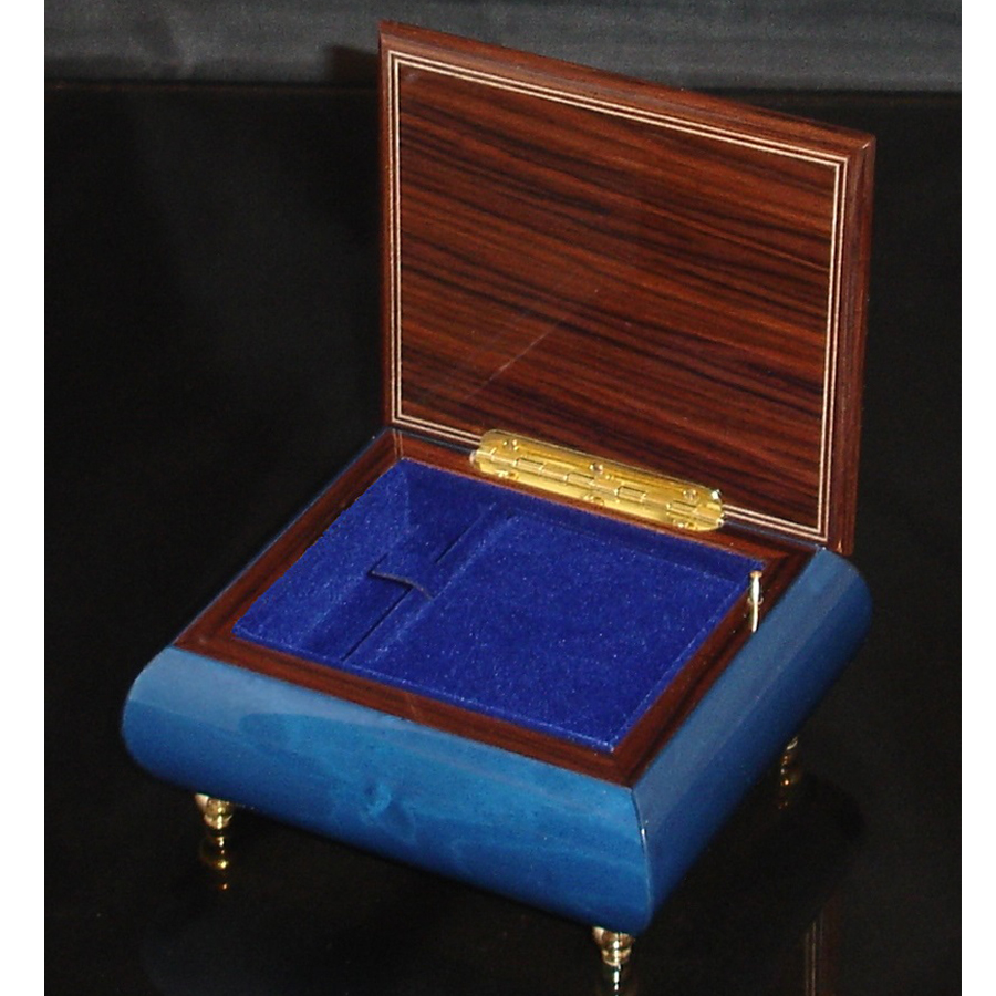 Italian Jewelry Box Dark Blue 17CF opened blue interior
