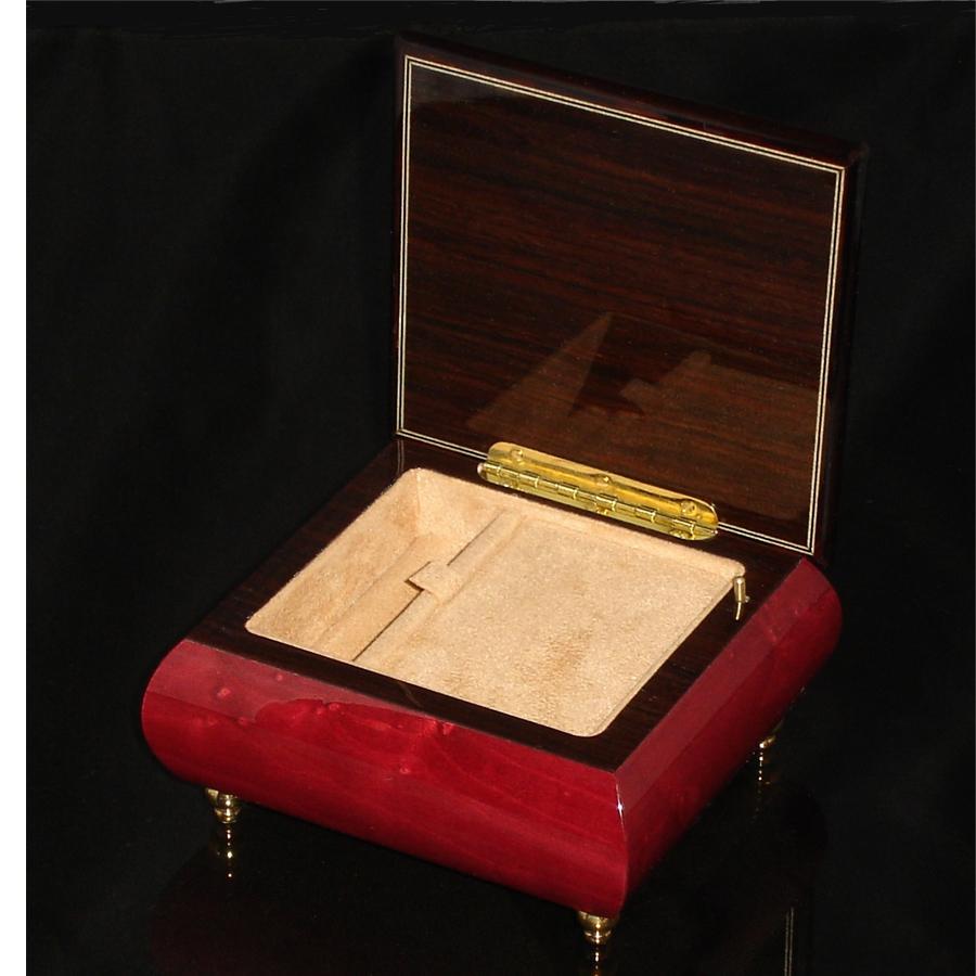 Italian Jewelry Box Wine Red 17CF opened