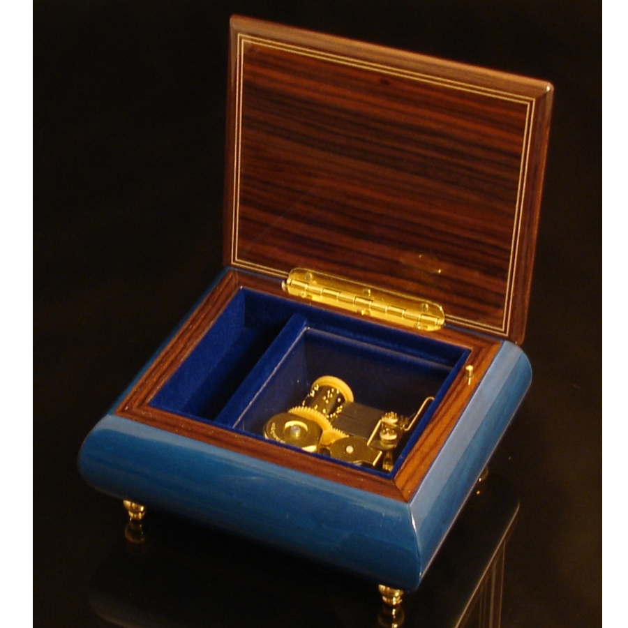 Italian Jewelry Box Dark Blue 17CVM opened no cover brown trim