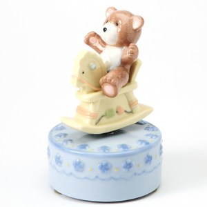 Teddy Bear on Rocking Horse musical in blue