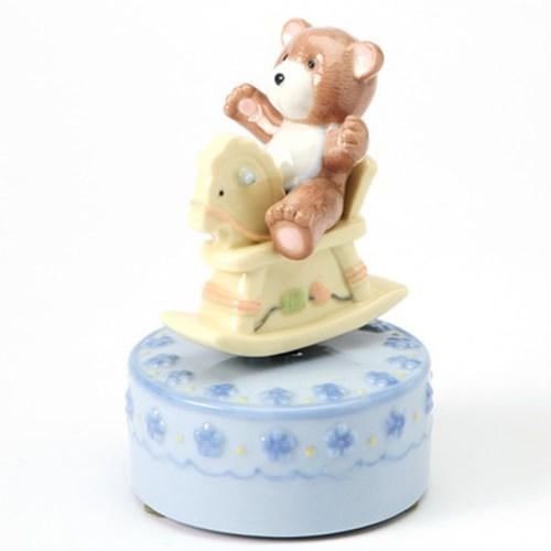 Teddy Bear on Rocking Horse musical in blue