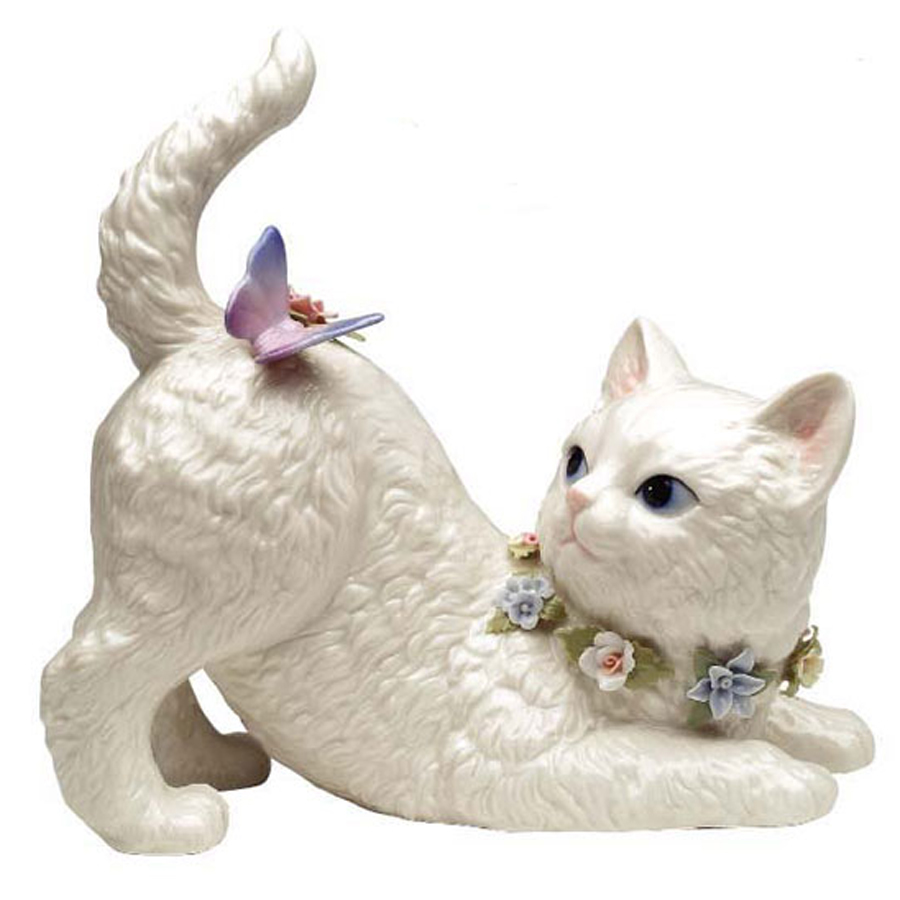 Porcelain musical Cat with Butterfly