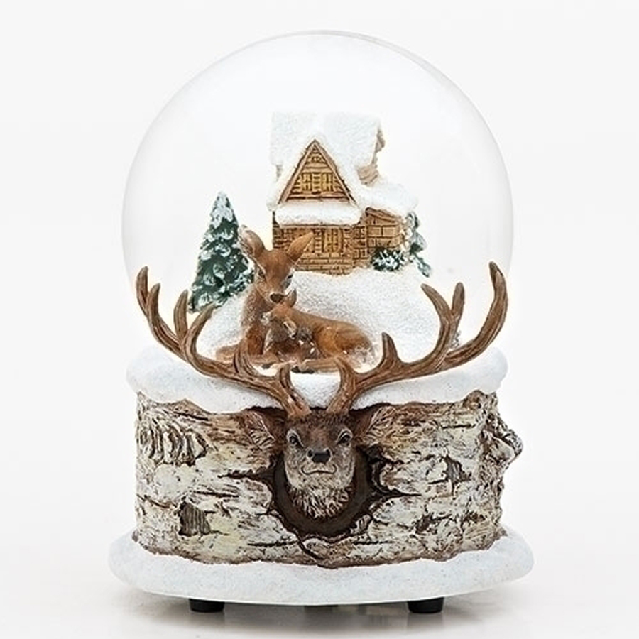 Musical Moose and Deer water globe